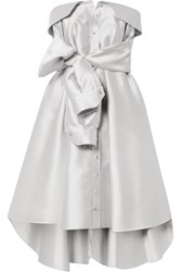 Alexis Mabille Bow Detailed Satin Mini Dress Platinum