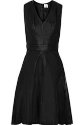 Iris And Ink Woman Ursula Flared Leather Dress Black