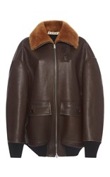 Marni Oversized Leather Jacket Brown