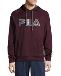 Fila Logo Graphic Checked Pullover Hoodie Red
