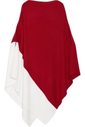 Victor Alfaro Color Block Ribbed Wool Poncho Claret