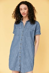 Bdg Rosalynn Chambray Collared Shirt Dress Vintage Denim Light