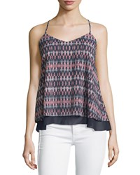Dex Printed Layered V Neck Tank Navy Pink