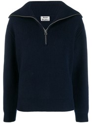 Acne Studios Ribbed Knit Jumper Blue