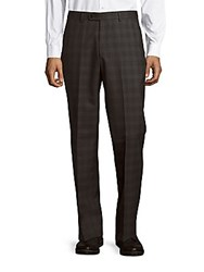 John Varvatos Astor Luxe Checked Wool Dress Pants Charcoal