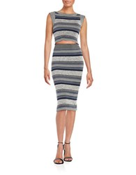 Free People Knit Two Piece Skirt Set Grey Combo