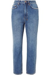 Ksubi Chlo Wasted Cropped High Rise Straight Leg Jeans Mid Denim