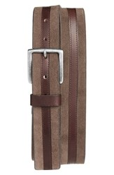 Trafalgar Men's Suede And Leather Belt Brown