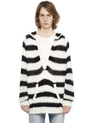 Saint Laurent Hooded Striped Wool And Mohair Sweater