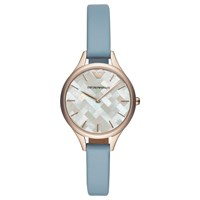 Emporio Armani Ar11109 Women's Leather Strap Watch Pastel Blue Multi