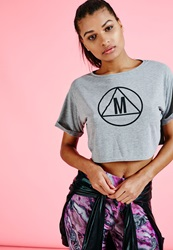 Missguided Slouch Fit Motif Crop T Shirt Grey Grey