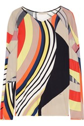Emilio Pucci Tulle Paneled Printed Stretch Jersey Top Beige