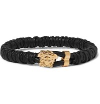 Versace Woven Leather And Brass Bracelet Black