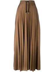 Msgm Pleated Palazzo Pants Nude And Neutrals