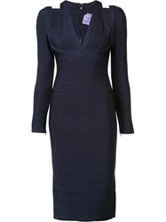 Herve Leger Cutout Detail Fitted Dress Blue