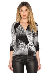Halston Cross Front Drape Blouse Black And White