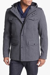 Black Rivet Wool Blend Hooded Military Jacket Gray