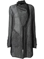 Lost And Found Knitted Card Coat Black