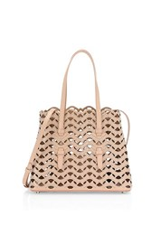 Azzedine Alaia Mini Triangle Cutout Leathertote Beige