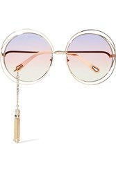 Chloe Exclusive Carlina Round Frame Gold Tone Sunglasses One Size