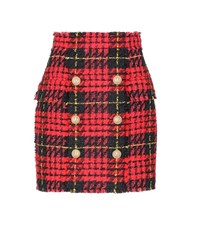 Balmain Plaid Tweed Mini Skirt Red