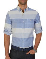 Nautica Slim Fit Mixed Design Sportshirt French Blue