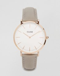 Cluse La Boheme Rose Gold And Grey Leather Watch Cl18015 Grey Rose Gold
