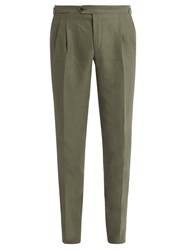 Thom Sweeney Tapered Leg Linen Trousers Green
