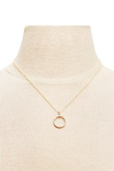 Forever 21 Rhinestone Pendant Necklace Gold Clear