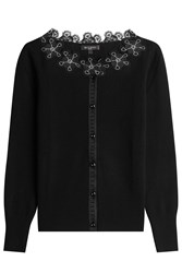 Etro Wool Blend Cardigan With Lace Black