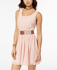 Amy Byer Bcx Juniors' Belted Fit And Flare Dress Light Pink
