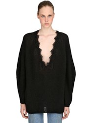 Pink Memories Oversized Lace And Mohair Blend Sweater Black