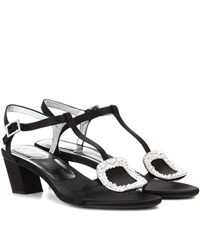 Roger Vivier Chips Embellished Satin Sandals Black
