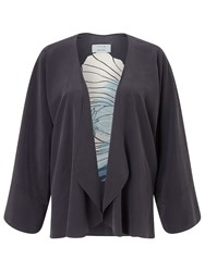 Jigsaw Floating Poppy Kimono Silk Jkt Grey
