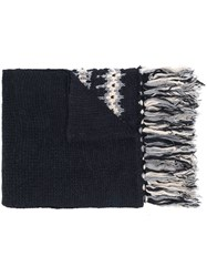 Semicouture Patterned Stripes Scarf Blue