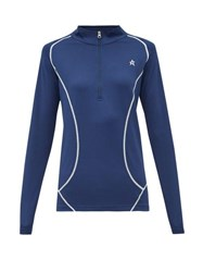 Perfect Moment Half Zip Roll Neck Technical Jersey Top Navy
