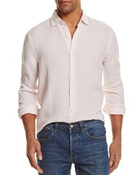 Bloomingdale's The Men's Store At Linen Striped Regular Fit Button Down Shirt Chalk Pink White