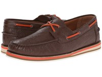 Etro Paisley Embossed Leather Boat Shoe Brown Men's Shoes