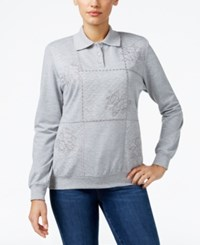Alfred Dunner Petite Sweet Nothings Embellished Polo Sweatshirt Silver