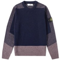 Stone Island Brushed Wool Panel Crew Knit Blue