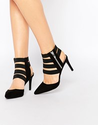 London Rebel Strappy Heeled Shoes Black