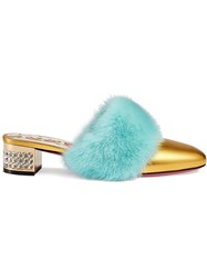 Gucci Gold Candy Mink Leather Mules Metallic