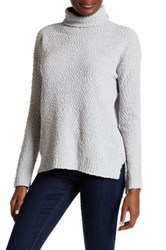 Joseph A Funnel Neck Popcorn Knit Pullover Sweater Gray