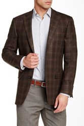 Hart Schaffner Marx Olive Plaid Two Button Notch Lapel Wool Sport Coat Brown