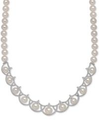 Arabella Cultured Freshwater Pearl 8Mm And Swarovski Zirconia Necklace In Sterling Silver Black