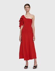 Beaufille Dione One Shoulder Dress Red