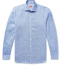 Isaia Slim Fit Satin Trimmed Slub Puppytooth Linen Shirt Blue