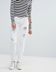 Only Coral Ripped Skinny Jeans White