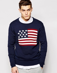 Solid Knitted Jumper With American Flag Jacquard Navy