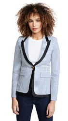 Smythe Taped Lapel Blazer Blue Seersucker